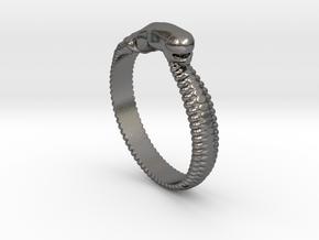 ChestBursterRing Alfa small in Polished Nickel Steel