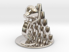 """Juju """"Playing with cups""""  - DeskToys in Rhodium Plated Brass"""