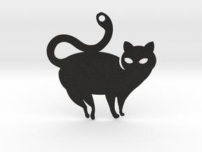 Cat Curve Tail Pendant in Black Acrylic