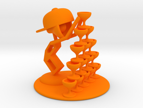 "LaLa ""Playing with wine glass"" - DeskToys in Orange Processed Versatile Plastic"