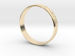 Ring Ornament love you in 14k Gold Plated Brass