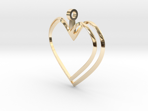 Open Heart Pendant in 14k Gold Plated Brass