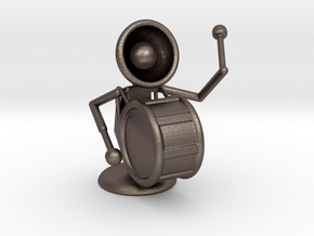 """Lala """"Playing Drums"""" - DeskToys in Polished Bronzed Silver Steel"""