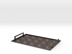 Christmas tray with snowflakes in Polished Bronzed Silver Steel