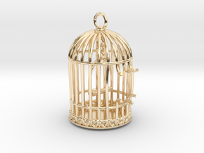 Freedom Birdcage Pendant in 14K Yellow Gold