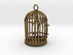 Freedom Birdcage Pendant in Polished Bronze