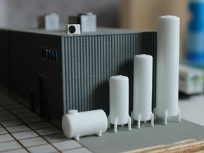 N scale 10 vertical tanks in White Natural Versatile Plastic