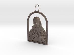 Jesus Heart Pendant in Polished Bronzed Silver Steel