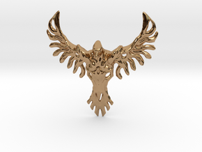 Rebirth Phoenix & Bull Skull Pendant: Small in Polished Brass