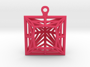 3D Printed Diamond Princess Cut Earrings  in Pink Processed Versatile Plastic