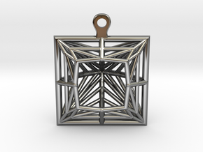 3D Printed Diamond Princess Cut Earrings  in Fine Detail Polished Silver