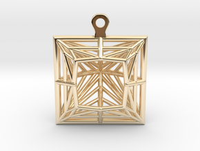 3D Printed Diamond Princess Cut Earrings  in 14k Gold Plated Brass