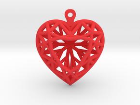 3D Printed Diamond Heart Cut Earrings  in Red Processed Versatile Plastic