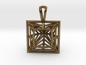 3D Printed Diamond Princess Cut Pendant by bondswe in Polished Bronze