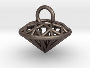 3D Printed Diamond is My Best Friend Pendant Small in Polished Bronzed Silver Steel