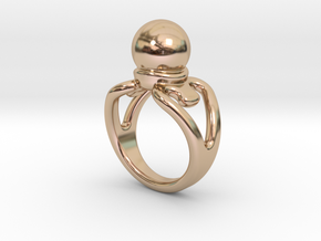 Black Pearl Ring 30 - Italian Size 30 in 14k Rose Gold Plated Brass