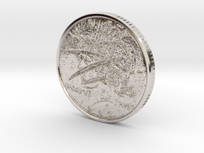 Two Faced Silver Dollar with scars on one side in Platinum