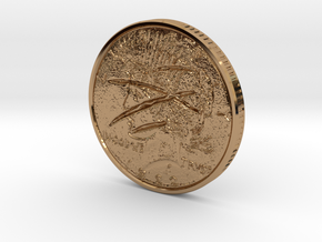 Two Faced Silver Dollar with scars on one side in Polished Brass