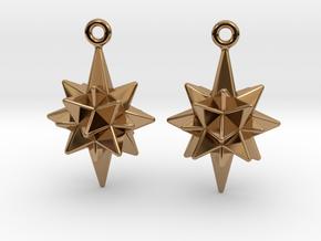 Moravian Star Earrings in Polished Brass