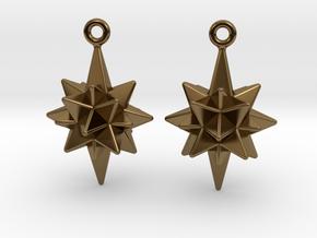 Moravian Star Earrings in Polished Bronze