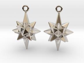 Moravian Star Earrings in Rhodium Plated Brass