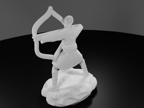 Elf Monk In Robes With LongBow in White Strong & Flexible Polished