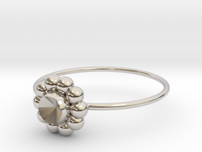 Size 9 Shapes Ring S6 in Rhodium Plated Brass