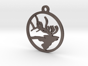 Elk Keychain 2 in Polished Bronzed Silver Steel