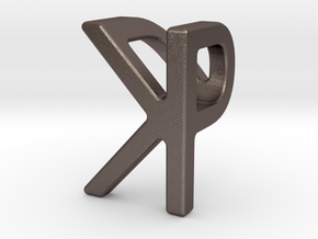 Two way letter pendant - KP PK in Polished Bronzed Silver Steel