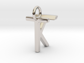 Two way letter pendant - KT TK in Rhodium Plated Brass