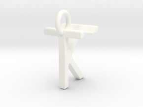 Two way letter pendant - KT TK in White Processed Versatile Plastic