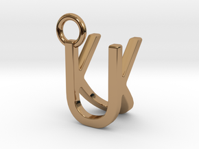 Two way letter pendant - KU UK in Polished Brass