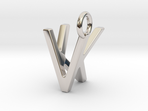 Two way letter pendant - KV VK in Rhodium Plated Brass
