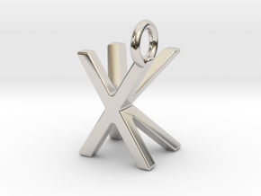Two way letter pendant - KX XK in Rhodium Plated Brass