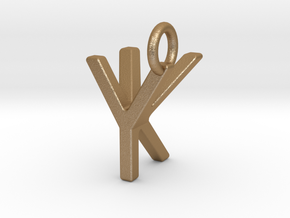 Two way letter pendant - KY YK in Matte Gold Steel