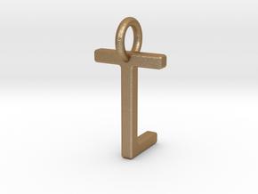Two way letter pendant - LT TL in Matte Gold Steel