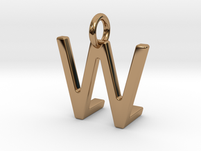 Two way letter pendant - LW WL in Polished Brass