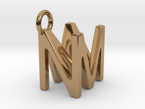 Two way letter pendant - MN NM in Polished Brass