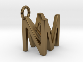 Two way letter pendant - MN NM in Polished Bronze