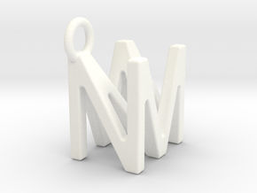 Two way letter pendant - MN NM in White Processed Versatile Plastic