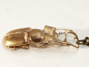 Stag Beetle Pendant - Closed Jaws  in Raw Bronze