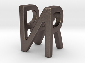 Two way letter pendant - NR RN in Polished Bronzed Silver Steel