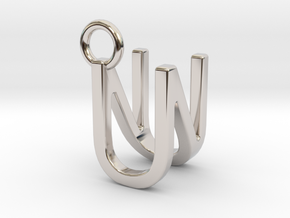Two way letter pendant - NU UN in Rhodium Plated Brass