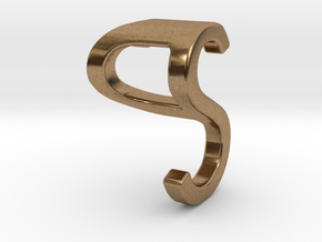 Two way letter pendant - PS SP in Natural Brass