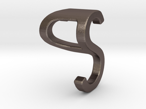 Two way letter pendant - PS SP in Polished Bronzed Silver Steel