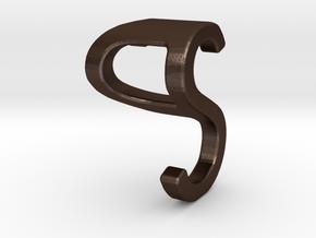Two way letter pendant - PS SP in Matte Bronze Steel