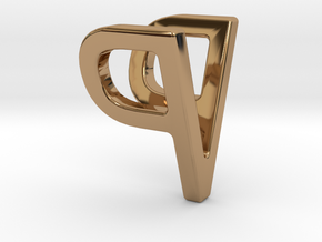 Two way letter pendant - PV VP in Polished Brass