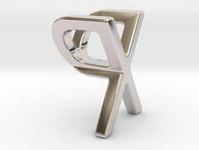 Two way letter pendant - PX XP in Rhodium Plated Brass
