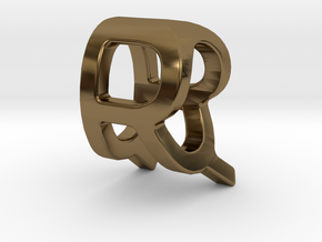 Two way letter pendant - QR RQ in Polished Bronze