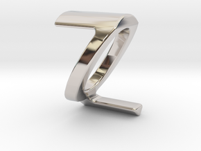 Two way letter pendant - QZ ZQ in Rhodium Plated Brass